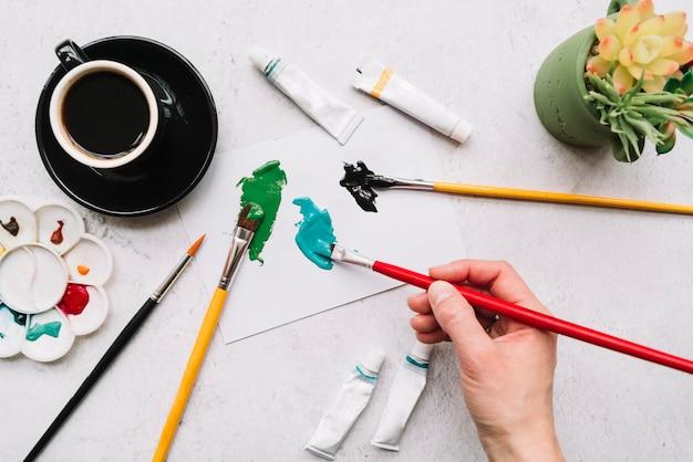 Vista superior, de, pintura mão
