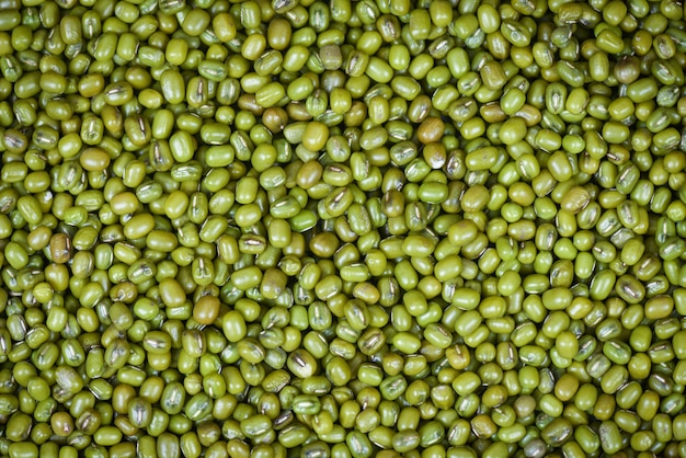 Vista superior de produtos agrícolas de feijão verde
