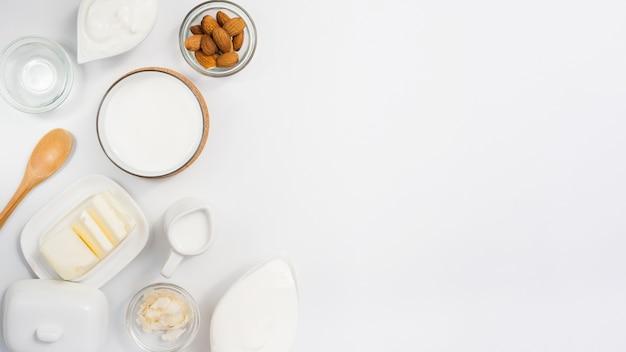 Vista superior de produtos lácteos