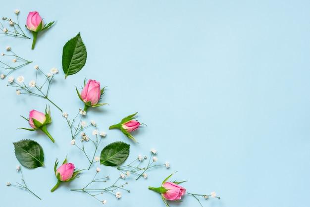 Vista superior de rosas e folhas verdes sobre fundo azul. floral abstrato copie o espaço.