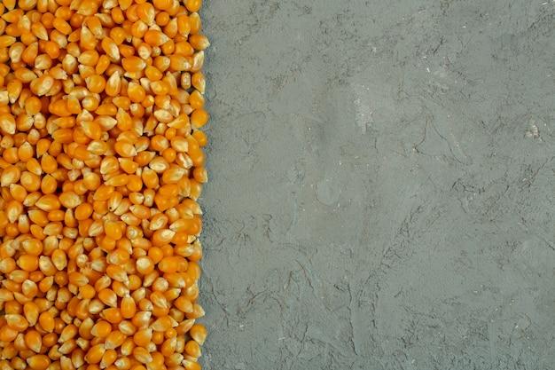 Vista superior de sementes de milho secas com espaço de cópia em cinza