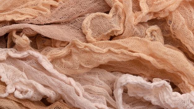 Vista superior de tecidos monocromáticos