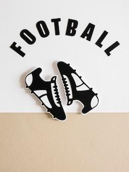 Vista superior de tênis de futebol americano