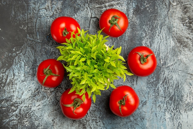 Vista superior de tomates frescos com planta verde