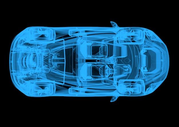 Vista superior de um carro azul de wireframe