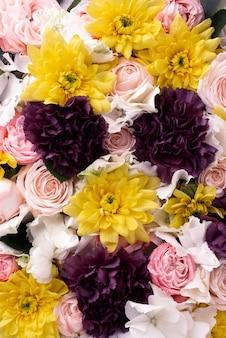 Vista superior de um conjunto de flores lindamente floridas