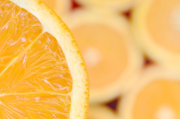 Vista superior de um fragmento da fatia da fruta laranja