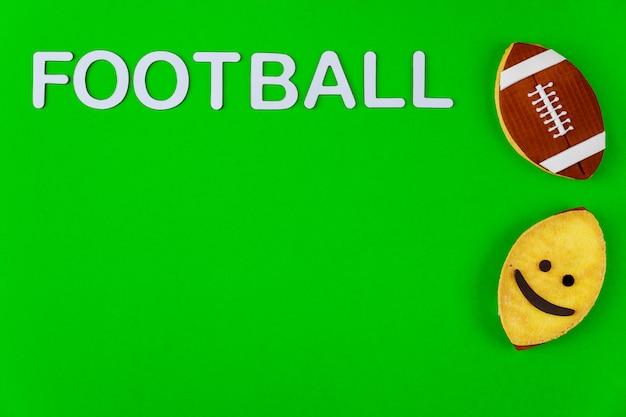 Vista superior de uma bola de futebol americano