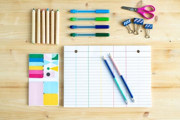 Vista superior de uma folha de papel com linhas rodeadas por um grupo de lápis e giz de cera com clipes, tesouras e um conjunto de borrachas