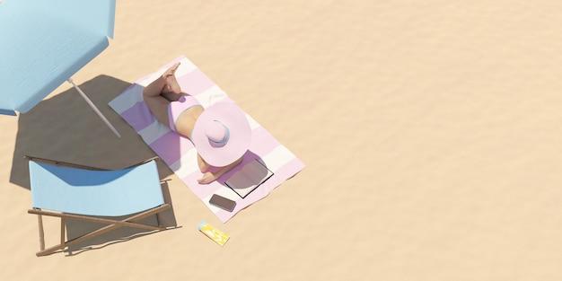 Vista superior de uma mulher de biquíni tomando sol na praia enquanto lê um livro