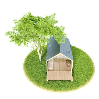 Vista superior de uma pequena casa moderna de madeira em um celeiro de estilo escandinavo em uma ilha com gramado verde e abetos
