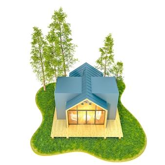 Vista superior de uma pequena casa moderna de madeira no estilo escandinavo com telhado de metal