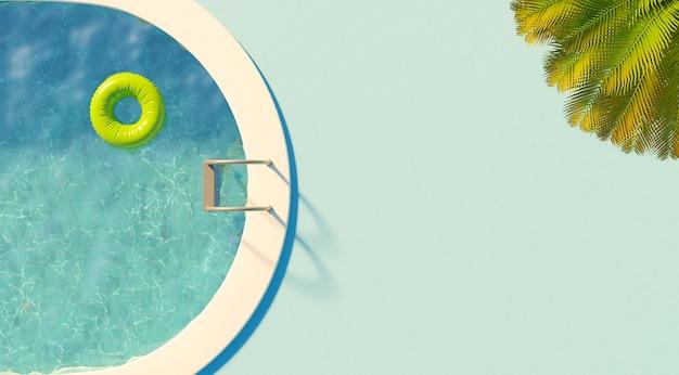 Vista superior de uma piscina com flutuador, palmeira e escada com piso azul. conceito de férias. renderização 3d