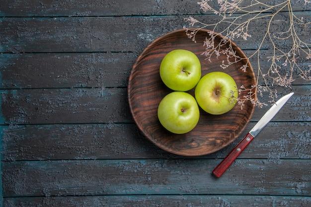 Vista superior de uma placa de maçãs ao longe placa de madeira de maçãs apetitosas ao lado de galhos de árvores e uma faca na superfície escura