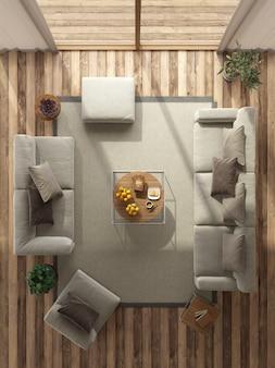 Vista superior de uma sala de estar minimalista