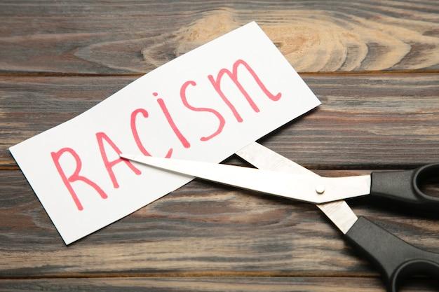 Vista superior de uma tesoura preta e um cartão de papel cortado com a palavra racismo