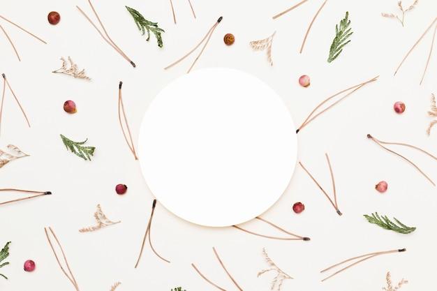 Vista superior de uma variedade de plantas de outono com um círculo de papel