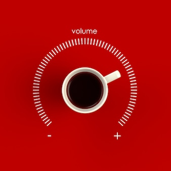 Vista superior de uma xícara de café sob a forma de controle de volume isolado em fundo vermelho