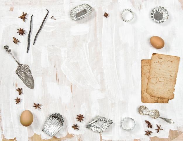 Vista superior de utensílios de cozinha de natal