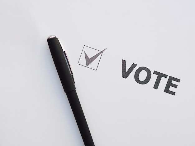 Vista superior de votação marcada