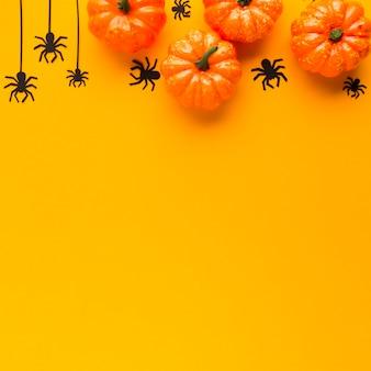 Vista superior decoração abóboras de halloween