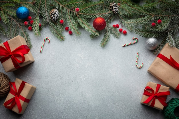 Vista superior decoração de natal com espaço de cópia