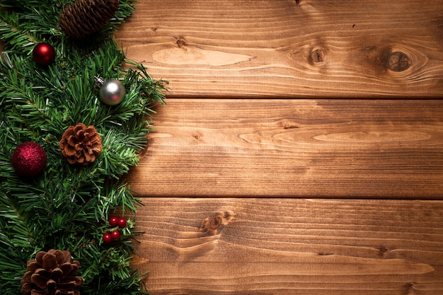 Vista superior decoração de natal com espaço de cópia Foto Premium
