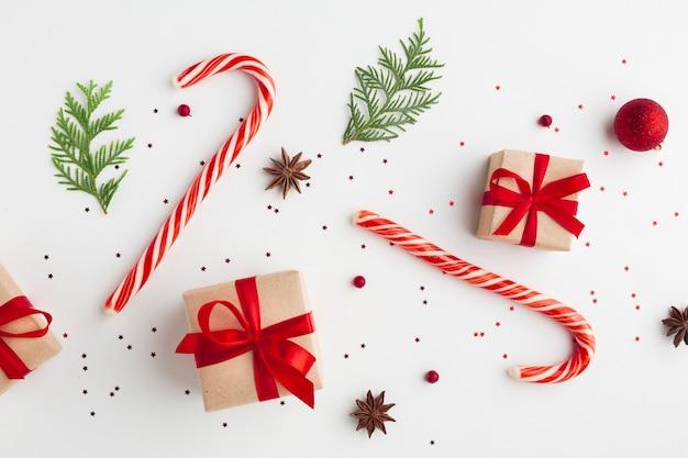 Vista superior decoração festiva de natal