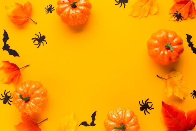 Vista superior decorativa abóboras de halloween
