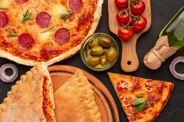 Vista superior deliciosa comida italiana