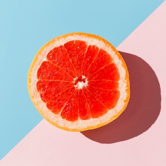 Vista superior deliciosa laranja vermelha