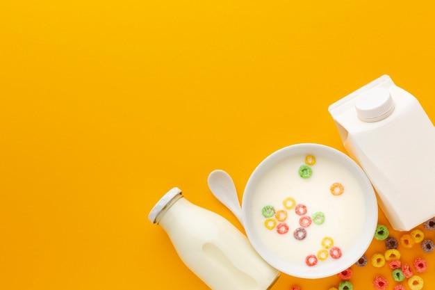 Vista superior deliciosa tigela de leite com cereais