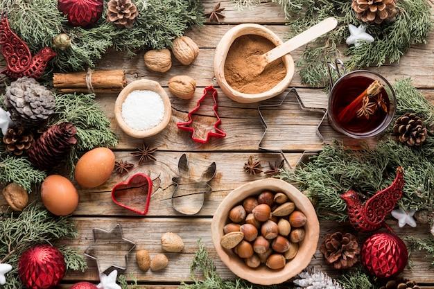Vista superior deliciosas guloseimas de natal