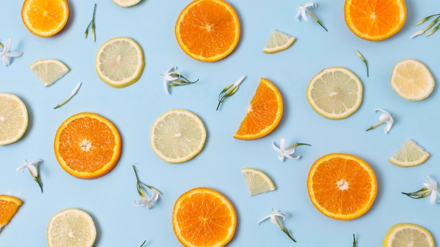 Vista superior - delicioso arranjo de frutos maduros