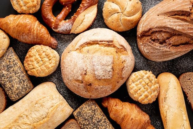 Vista superior deliciosos produtos de pastelaria