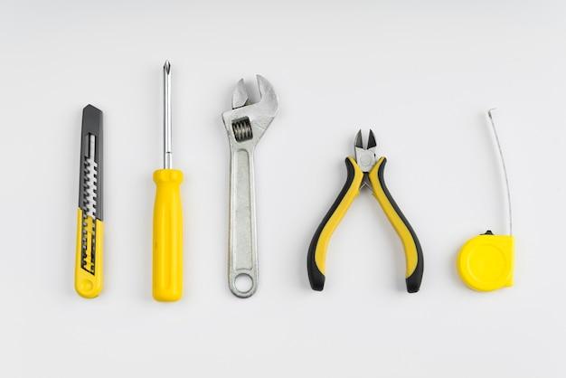 Vista superior diferentes tipos de ferramentas