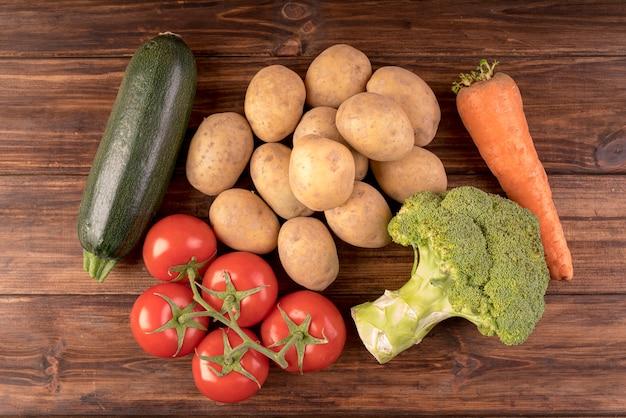 Vista superior diferentes vegetais saudáveis