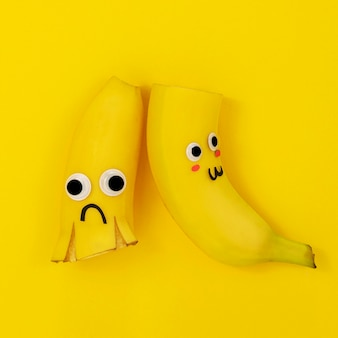 Vista superior do arranjo de bananas