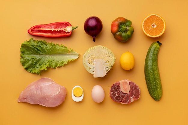 Vista superior do arranjo de comida saudável