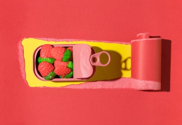 Vista superior do arranjo de deliciosos doces