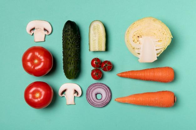 Vista superior do arranjo de deliciosos vegetais