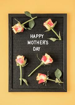 Vista superior do arranjo de flores para o dia das mães