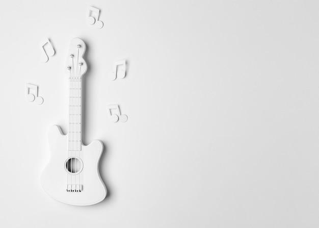 Vista superior do arranjo de guitarra branca com espaço de cópia