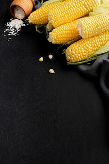 Vista superior do arranjo de milho delicioso com espaço de cópia