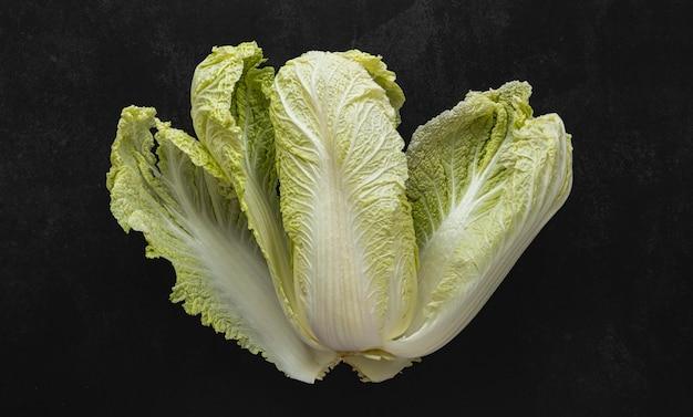 Vista superior do arranjo de salada verde