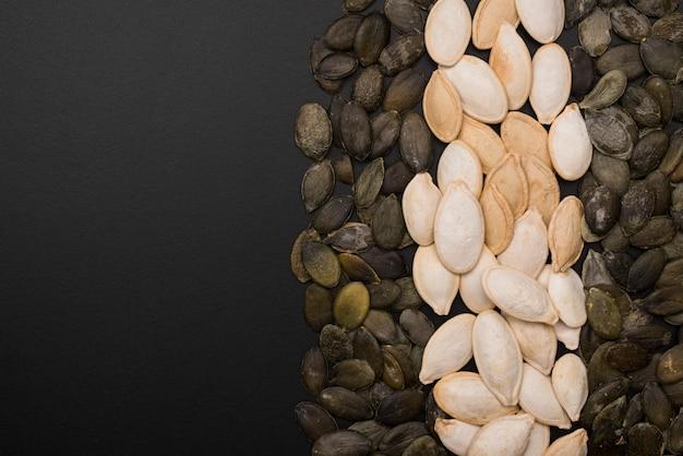 Vista superior do arranjo de sementes de abóbora