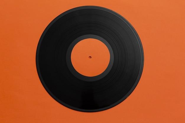 Vista superior do arranjo do disco de vinil