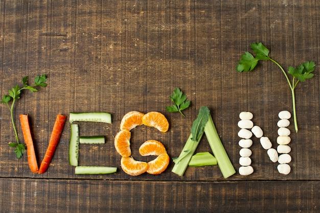 Vista superior do arranjo vegano