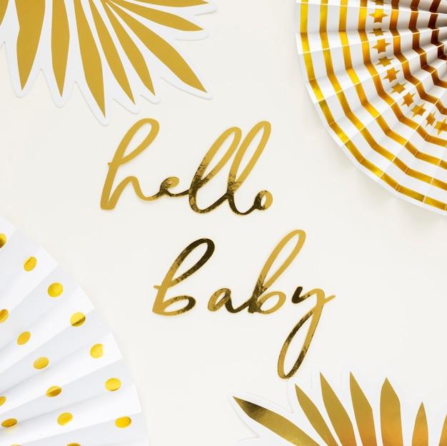 Vista superior do belo conceito de chuveiro de bebê