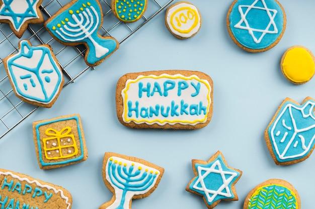 Vista superior do belo conceito de hanukkah